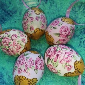 Gyönyörű barokk húsvéti tojások, Otthon & lakás, Dekoráció, Ünnepi dekoráció, Húsvéti díszek, Decoupage, transzfer és szalvétatechnika, Szalvétatechnikával készült gyönyörű virágos húsvéti tyúktojások strasszokkal. A szépségek decoupage..., Meska