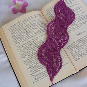 Horgolt lila könyvjelző, Otthon & lakás, Naptár, képeslap, album, Könyvjelző, Horgolás, Bájos, kedves kis apróság az olvasás szerelmeseinek, könyvbarátoknak!\nAz lila romantikus könyvjelzőt..., Meska