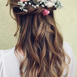 Esküvői hajdísz/kontytű GINAPPI_VH2, Kontydísz & Hajdísz, Hajdísz, Esküvő, Mindenmás, A csomag 9 db virágot és 3 db levelet tartalmaz, amely tetszés szerint variálható a hajban, mert min..., Meska