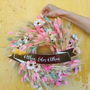 Kopogtató/Ajtódísz Ginappi_MK10, Ajtódísz & Kopogtató, Dekoráció, Otthon & Lakás, Virágkötés, Vidám, nyári színekkel készült szárazvirág kopogtató műanyag rosegold táblával. A tábla levehető és ..., Meska