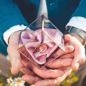 """Ólomüveg gyűrűtartó  - Ginappi_OUGYT_1, Gyűrűtartó & Gyűrűpárna, Kiegészítők, Esküvő, Mindenmás, Üvegművészet, \""""Az álmok térképek. Sehova sem jutunk nélkülük.\"""" - Ez az ólomüveg technikával készült gyűrűtartó éve..., Meska"""