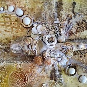 Falikép, Otthon & Lakás, Dekoráció, Kép & Falikép, Festészet, Újrahasznosított alapanyagból készült termékek, 25x 35 cm nagyságú feszített vászonra készült falikép. Többféle technikával, sokféle alapanyag felha..., Meska