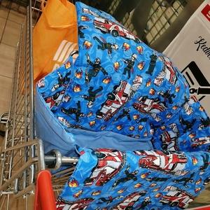 Tűzoltós kocsihuzat - Bevásárlókocsi huzat, Gyerek & játék, Baba-mama kellék, 100 % pamutvászonból készült, vatelinnel bélelt üléshuzat Utalás beérkezte után két napon belül küld..., Meska