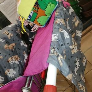 Kutyás bevásárlókocsi huzat - Uniszex kocsihuzat óriáskockával, Játék & Gyerek, 3 éves kor alattiaknak, Bevásárlókocsi huzat, Varrás, 100 % pamutvászonból készült, vatelinnel párnázott kocsihuzat\nA lila színű anyag batikolt, enyhén má..., Meska