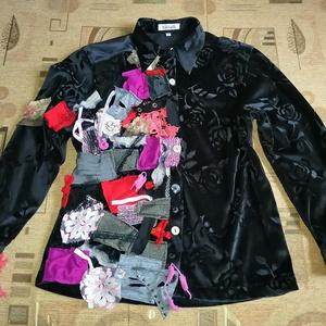 Egyedi női ing - Patchwork bársony ing M - es, Ruha & Divat, Női ruha, Készen vásárolt rugalmas anyagú inget tettem egyedivé sok aprólékos munkával A különleges, bohém dar..., Meska