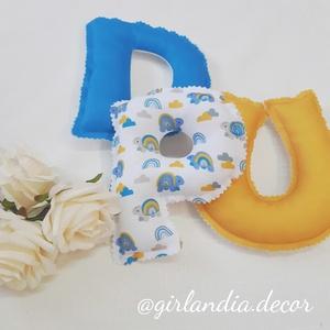 Dundi betűs girland teknős mintával kék-bézs-mustár, Otthon & Lakás, Dekoráció, Betű & Név, Fotó, grafika, rajz, illusztráció, Varrás, Kérd babád nevét dundi, puha töltelékkel töltött betűkből, hogy igazán egyedi legyen a babaszoba/gye..., Meska