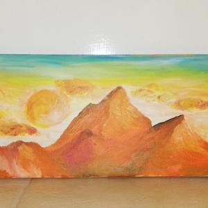 Sárga hegyek, Otthon & lakás, Dekoráció, Kép, Képzőművészet, Festmény, Akril, Lakberendezés, Festészet, Vászonra akrillal festett sárga hegycsúcsok\nMéret: 60x20cm, Meska