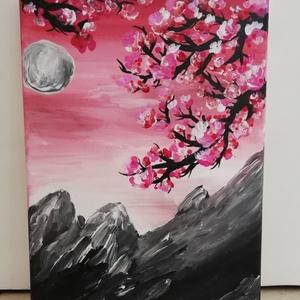 Blossom, Otthon & lakás, Képzőművészet, Festmény, Akril, Napi festmény, kép, Vegyes technika, Festészet, Rózsaszín virágos faágak a vele kontrasztban lévő szürke hegyek felett\nMéret: 24x18, Meska