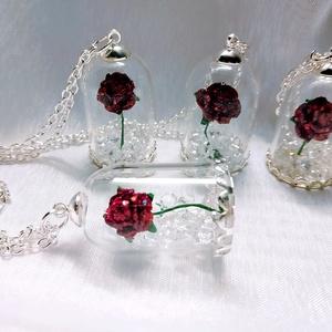 Rózsa gyémántokkal nyaklánc, Ékszer, Medál, Nyaklánc, Esküvő, Ékszerkészítés, A gyémántok természetesen hamisak :) A rózsa kézzel készült, a búrához ezüst foglalat és lánc tartoz..., Meska