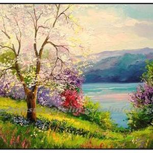 Tavasz előfestett gobelin, Otthon & Lakás, Dekoráció, Kép & Falikép, Festészet, Ez a kép maga az üdeség, a megújulás, a várva várt színes tavasz, szinte érzi az ember a virág illat..., Meska