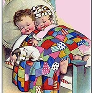 Édes álom előfestett gobelin alap, Művészet, Textil, Gobelin, Festészet, Édesen alvó gyerekek, mindenkinek mosolyt csal az arcára. Ez a szép, színes kép minden gyerekszobába..., Meska