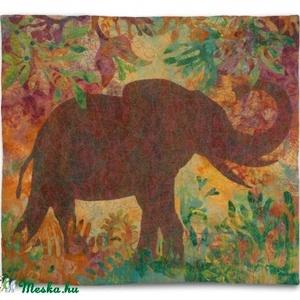 Még létezők I.   Afrikai elefánt, 126 x114 cm, nemez, Képzőművészet, Otthon & lakás, Textil, Lakberendezés, Falikép, Nemezelés, Ezen a képen mintegy a hiányt előrevetítve, felerősítve, árnyképként jelenik meg az elefánt. Hol van..., Meska