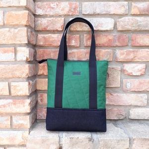 Pakolós válltáska, Táska & Tok, Kézitáska & válltáska, Nagy pakolós táska, Zöld vastag vászon, fekete farmer és zöld-fehér mintás vászon felhasználásával készült táska.  Méret..., Meska