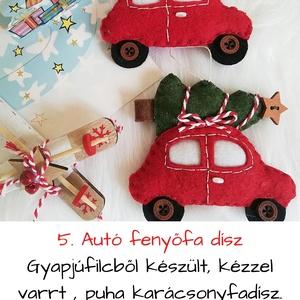 Autó karácsonyfával ,karácsonyfadísz, Otthon & Lakás, Dekoráció, Varrás, Gyapjúfilcből készült, kézzel varrt , puha karácsonyfadísz. Mérete: 10*9 cm, ára: 950ft/db, Meska