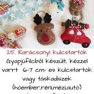 Karácsonyi kulcstartók (mézi,réni,hóember,autó), Otthon & Lakás, Dekoráció, Varrás, Gyapjúfilcből készült, kézzel varrt  6-7 cm- es kulcstartók vagy táskadíszek (hóember,réni,mézi,autó..., Meska