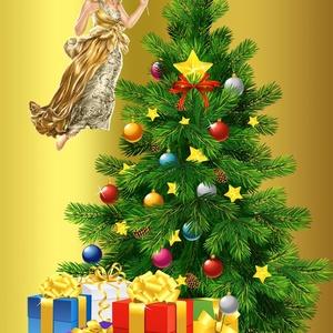 Boldog Karácsonyt!, Otthon & lakás, Dekoráció, Lakberendezés, Kép, Falikép, Gyerek & játék, Gyerekszoba, Festett tárgyak, Fotó, grafika, rajz, illusztráció, A Goldi miniatűr egy varázslatos illusztráció, melyet arany és ezüst színű, vékony fémre nyomtatunk ..., Meska