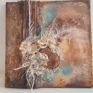 Mixed media kép, Kép & Falikép, Dekoráció, Otthon & Lakás, Festett tárgyak, Mixed media kép feszített vásznon. Mérete: 30 x 30 cm. Repedőpasztával, 3D rátétekkel – csipke, papí..., Meska