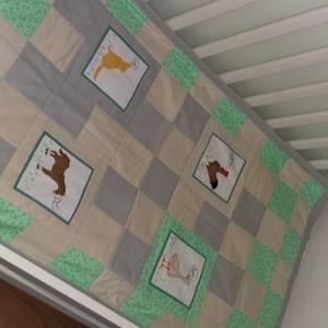 Patchwork gyermek ágytakaró, Ágytakaró, Lakástextil, Otthon & Lakás, Patchwork, foltvarrás, Pamutvászonból készült, finom pasztel színekből összeállított gyermek ágytakaró, melynek mérete 60 X..., Meska