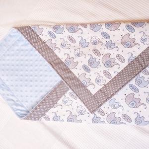 Kék elefántos babaváró szett, babafészek, takaró, babakocka, textil tároló és pelenkázó neszesszer - Meska.hu