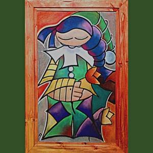 Szerelmes Bohóc, Otthon & lakás, Képzőművészet, Napi festmény, kép, Festészet, Fotó, grafika, rajz, illusztráció, Szerelmes Bohóc\nLakkozott pasztell kartonon - hozzá készített fenyő keretben. A keretet művész akril..., Meska