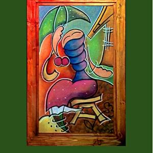 Tavasz, Szél, Piactér..., Otthon & lakás, Képzőművészet, Napi festmény, kép, Festészet, Fotó, grafika, rajz, illusztráció, Tavasz, Szél, Piactér...\nLakkozott pasztell kartonon - hozzá készített fenyő keretben. A keretet műv..., Meska
