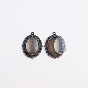 Medál alap + üveglencse - Ovális - Bronz színű - 2 db, Gyöngy, ékszerkellék, Üveglencse, Medál alap + üveglencse - ovális - antik bronz színű - 2 db  Mérete: 39x27 mm, a beleillő üveg lencs..., Meska
