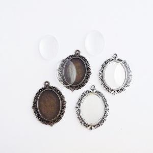 Medál alap + üveglencse - Ovális - Ezüst és bronz színű - 4 db (2-2 db), Gyöngy, ékszerkellék, Üveglencse, Ékszerkészítés, Medál alap + üveglencse - ovális - 2 db antik ezüst és 2 db bronz színű\n\nMérete: 39x27 mm, a beleill..., Meska