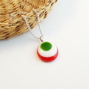 Üveg kokárda nyaklánc - piros-fehér-zöld (GombocEkszerek) - Meska.hu