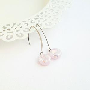 Rózsaszín, színjátszó üveg fülbevaló, Ékszer, Lógó fülbevaló, Fülbevaló, Ékszerkészítés, Üvegművészet, Meska