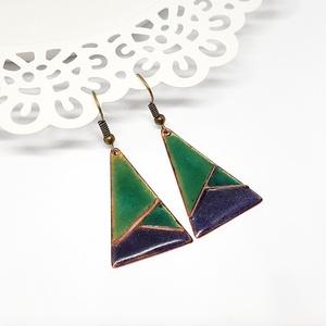 Tűzzománc háromszög alakú rekeszzománc fülbevaló - AKCIÓ!, Ékszer, Fülbevaló, Lógó fülbevaló, Tűzzománc, Meska