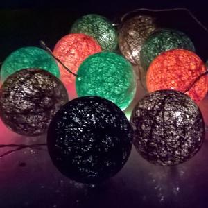 """Fényfüzér \""""Narancsliget\"""", Lakberendezés, Otthon & lakás, Lámpa, Gyerek & játék, Gyerekszoba, Mindenmás, Vigyünk egy kis színt a hétköznapokba! :)\n\nEgyedi, kézzel készített gömb fényfüzér!\n12 egyedi gömb s..., Meska"""