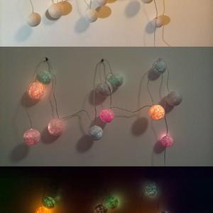 """Fényfüzér \""""Lollipop\"""" , Lakberendezés, Otthon & lakás, Lámpa, Gyerek & játék, Hangulatlámpa, Mindenmás, Játékos, színváltó fényfüzért készítettem, mely alapból fehér színű, ám ha felkapcsolod, akkor színe..., Meska"""