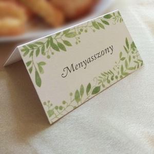 Esküvői ültetőkártya levélkoszorúval, Esküvő, Meghívó, ültetőkártya, köszönőajándék, Papírművészet, Fotó, grafika, rajz, illusztráció, Letisztult, természetközeli, sátras ültetőkártya.  Egyszeri szerkesztési díj: 1500 Ft  A gyártás el..., Meska