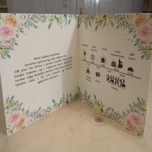 Esküvői meghívó pasztell virágokkal, Esküvő, Meghívó, ültetőkártya, köszönőajándék, Papírművészet, Fotó, grafika, rajz, illusztráció, Romantikus, akvarell hatású esküvői meghívó\n\nA rendelés után átalakítom a ti igényeiteknek megfelelő..., Meska