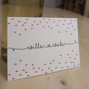 Esküvői meghívó szívecskékkel, Esküvő, Meghívó, ültetőkártya, köszönőajándék, Papírművészet, Fotó, grafika, rajz, illusztráció, Egyszerű, mégis vidám és játékos esküvői meghívót készítettem, melyet a különleges betűtípus és a f..., Meska
