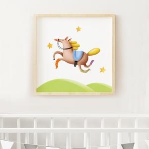 Babaszoba falikép keretben 40cmx40cm, Baba-mama-gyerek, Otthon, lakberendezés, Gyerekszoba, Baba falikép, Fotó, grafika, rajz, illusztráció, Egy aranyos lovacska a babaszoba, vagy gyerekszoba falára.  1 db egyedileg tervezett grafika fehér ..., Meska