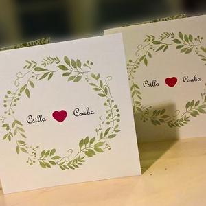 Esküvői meghívó levélkoszorúval, Esküvő, Meghívó, ültetőkártya, köszönőajándék, Papírművészet, Fotó, grafika, rajz, illusztráció, Természetközeli, akvarell hatású esküvői meghívó zöld levélkoszorúval.\n\nA rendelés után átalakítom a..., Meska