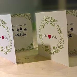 Esküvői meghívó levélkoszorúval (gombocok) - Meska.hu