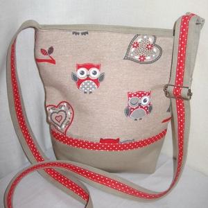 Piros baglyos kicsibe, Táska & Tok, Vállon átvethető táska, Kézitáska & válltáska, Varrás, Meska