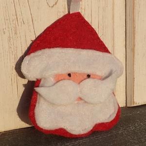 mikulás filcből, Otthon & Lakás, Karácsony & Mikulás, Karácsonyi dekoráció, Varrás, Hímzés, Gyapjúfilcből készült vatelinnel töltött dísz.1db:600ft.8cm., Meska