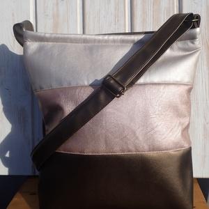 Ezüst,púder,bronz táska, Válltáska, Kézitáska & válltáska, Táska & Tok, Varrás, Ezüst,rózsaszín textilbőrből és bronz műbőrből készült nagy méretű táska.Pántja állítható bronz műbő..., Meska