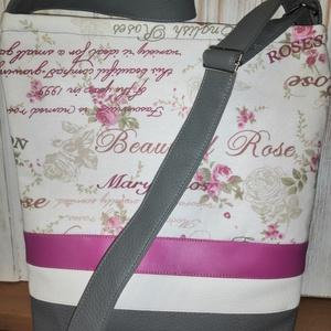 Mary Rose táska, Táska & Tok, Kézitáska & válltáska, Vállon átvethető táska, Varrás, Bútorvászonból és textilbőrből készült válltáska. Bélése pamutvászon.Húzózáras. Pántja állítható. 2 ..., Meska