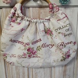 Mary Rose bambuszfüles táska, Shopper, textiltáska, szatyor, Bevásárlás & Shopper táska, Táska & Tok, Varrás, Bútorvászonból és pamutvászonból készült bambuszfüles táska. Kifordítva is lehet hordani. Pink pötty..., Meska