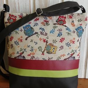 Barna baglyos táska, Táska & Tok, Kézitáska & válltáska, Vállon átvethető táska, Varrás, Bútorvászonból és műbőrből készült válltáska. Húzózáras. Pántja állítható. Bélése pamutvászon és vat..., Meska