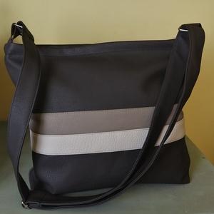 Cappucino csíkos táska , Táska & Tok, Kézitáska & válltáska, Vállon átvethető táska, Varrás, Meska