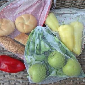 3 db zöldség/gyümölcs bevásárló zsák, Zöldség/Gyümölcs zsák, Bevásárlás & Shopper táska, Táska & Tok, Varrás, Tüll és mintás pamutvászonból varrtam ezeket a zsákokat a zöldségek, gyümölcsök, pékáruk vásárlásáho..., Meska