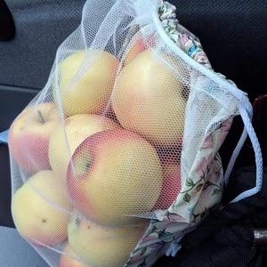 1 db zöldség/gyümölcs bevásárló zsák, Zöldség/Gyümölcs zsák, Bevásárlás & Shopper táska, Táska & Tok, Varrás, Tüll és mintás pamutvászonból varrtam ezeket a zsákokat a zöldségek, gyümölcsök, pékáruk vásárlásáho..., Meska