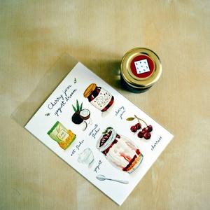 Receptkártyás ajándékcsomag, Naptár, képeslap, album, Otthon & lakás, Képeslap, levélpapír, Festészet, Papírművészet, Ajándékozz egy szuper receptet és lekvárt egyszerre! Két Goods from gardens alkotónk összeállt egy m..., Meska