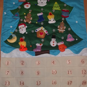 Adventi naptár, Adventi naptár, Karácsony & Mikulás, Otthon & Lakás, Varrás, Adventi naptár. 24 db filc karácsonyfadísszel. , Meska