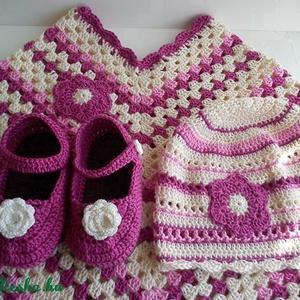 Gyermek horgolt poncsó sapkával - ruha & divat - babaruha & gyerekruha - babasapka - Meska.hu